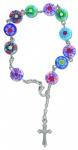 10er-Rosenkranz Millefiori-Perlen, mit Metallkreuz Auto-Rosenkranz Rückspiegel