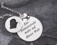 Herz-Anhänger Taufe Geschenk 3 teilig 925 Silber poliertes Herz, Kette