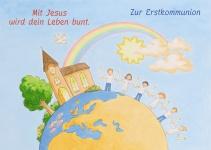 Kommunionkarte Erdkugel Zur Erstkommunion (6 Stck) Glückwunschkarte Kommunion
