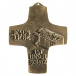 Wandkreuz Jesus Liebe ist unser Schatz Bronze 10 cm Peters Jürgen Erstkommunion