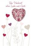 Hochzeitskarte Glas Herz-Magnet Zur Hochzeit, rot (3 Stck) Glückwunschkarte