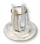 Kerzenständer Schmiedeeisen, weiß-gold lackiert 10 cm