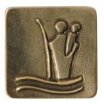 Christophorus Autoplakette 3 x 3 cm Bronze mit Magnet