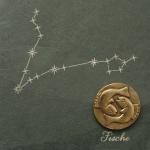 Wandrelief Sternzeichen Fische 14, 5 cm Swarovski Schiefertafel