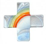 Glaskreuz Regenbogen Fusing Glas Kreuz weiß Handarbeit 18 cm Wandkreuz Unikat