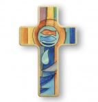 Kreuz für Kinder Fische 11 cm Kruzifix Holz-Kreuz Wandkreuz