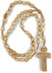 Rosenkranz geknüpft 31 cm Perle 6 mm oval Naturholz Holzkreuz