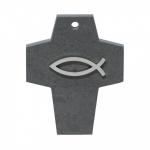 Wandkreuz Taufe Schiefer Reliefkreuz Symbolkreuz Fisch Edelstahl Element 10 cm