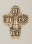 Wandkreuz Symbolkreuz Ich bin das Licht Bronze 10 cm Peters Erstkommunion
