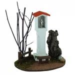 Wegmadonna mit Bank Materl Holz handgefertigt 19 cm für Weihnachtskrippe