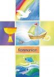 Glückwunschkarte Zur Kommunion (6 St) Kreuz mit Taube Kelch Segelboot und Fischen