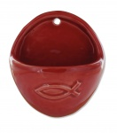 Weihwasserbecken Ichthys Fisch Keramik rot glänzend oval 10 cm Weihwasserkessel