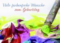 Postkarte Viele farbenfrohe Wünsche zum Geburtstag (10 Stck) Glückwunschkarte