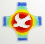 Glaskreuz Taube Regenbogen Fusing Glas Kreuz Handarbeit 15 cm Wandkreuz Unikat