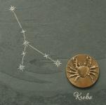 Wandrelief Sternzeichen Krebs 14, 5 cm Schiefer Swarovski Wandbild Deko