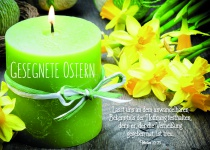 Postkarte Kerze zu Ostern Gesegnete Ostern (10 Stck) Grusskarten Adressfeld