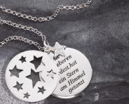 Taufe Stern-Anhänger Als du geboren 925 Silber Zirkonia 3-tlg, Silberkette