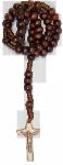 Rosenkranz geknüpft Holz-Perlen, nußbraun 27 cm Erstkommunion