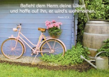 Postkarte Befiehl dem Herrn deine Wege (10 St) Rosa Fahrrad Psalm Lutherbibel