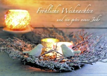Postkarte Fröhliche Weihnachten Neues Jahr (10 Stck) Kerzen Weihnachtskarte