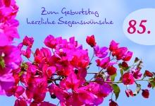 Geburtstagskarte Blüten Zum 85. Geburtstag (6 Stck) Glückwunschkarte Kuvert