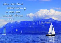 Postkarte See, Segelboote, Berge am Ufer (10 Stck)