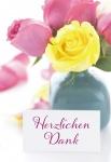 Klappkarte Rosen Herzlichen Dank (6 Stck) Doppelkarte Danksagungskarte Kuvert