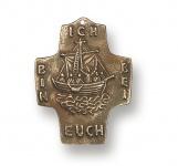 Wandkreuz Schiff Ich bin bei euch Bronze 10 cm Erstkommunion