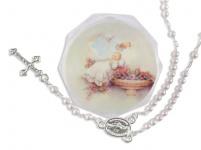 Tauf-Rosenkranz 15 cm, weiße Perlen Taufschmuck mit Rosenkranz-Etui