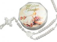 Tauf-Rosenkranz 15 cm, weiße Perlen Taufschmuck Meine Taufe Rosenkranz-Etui