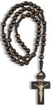 Rosenkranz Holzkreuz, geknüpft 25 cm Perle 5 mm
