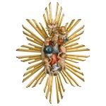 Wandrelief Gloriole mit Aura Holz geschnitzt handbemalt Südtiroler Schnitzkunst