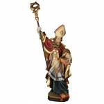 Heiliger Isidor von Sevilla Holzfigur geschnitzt Südtirol Schutzpatron Bischof