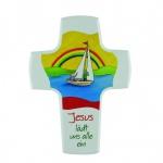Kinderkreuz Jesus lädt uns alle ein Buche Holz 15 cm Wandkreuz Kreuz Kommunion