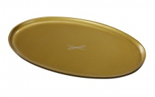 Kerzenteller Aluminium goldfarben oval 10 x 17 cm für Tischkerzen Altarkerzen