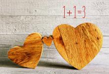 Geburtskarte 1+1=3 (6 Stck) Drei Herzen Sinnspruch Glückwunschkarte zur Geburt