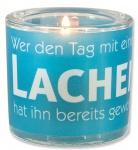 Glaswindlicht Lachen inkl. Teelicht Kerzenhalter Geschenkbox Glas für Windlicht