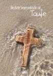 Glückwunschkarte Herzliche Segenswünsche zur Taufe (6 St) Kreuz im Wasser Psalm