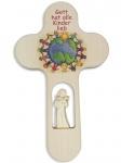Kreuz für Kinder Schutzengel 21 cm Kruzifix Holz-Kreuz Engel aus Holz