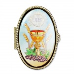 Rosenkranz Etui Kelch/IHS goldfarben, oval Metall 5 x 3, 5 cm
