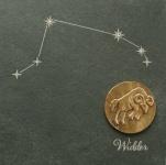 Wandrelief Sternzeichen Widder 14, 5 cm Swarovski Schiefertafel