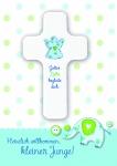 Geburtskarte mit Holzkreuz Herzlich willkommen (1 St) Glückwunschkarte Geburt