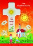 Kommunionkarte Holzkreuz Zur Erstkommunion (1 Stck) Kommunion Grußkarte Kuvert
