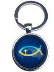 Schlüsselanhänger Fisch Ichthys im Organzabeutel Ø 2, 8 cm Metall Blau