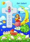 Geburtskarte Holzkreuz Engel zur Geburt (1 Stck) Spruch Glückwunschkarte Geburt
