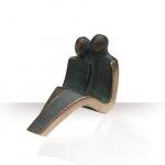 Bronzefigur Paar sitzend 10 cm Bronze Skulptur