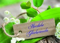 Glückwunschkarte Herzliche Glückwünsche (10 Stck) Sinnspruch Grußkarte