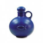 Weihwasserkrug Fisch Keramik blau matt 0, 5 l Weihwassergefäß Weihwasserbehälter