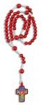 Kinder-Rosenkranz Perle rot Kordel weiß 29 cm