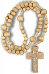 Rosenkranz geknüpft 26 cm Perle Natur 5 mm, Holzkreuz katholische Gebetskette